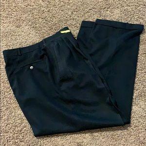Men's SAVANE black cuffed pleated slacks 34x29